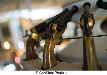 Handguns - Old handguns onboard a naval ship at Portsmouth