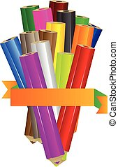 Coloring pencils with blank ribbon - Vector coloured pencils...