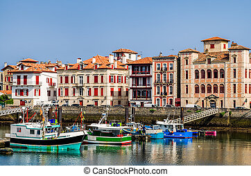 Saint-Jean-de-Luz harbour, France - The harbour and quayside...