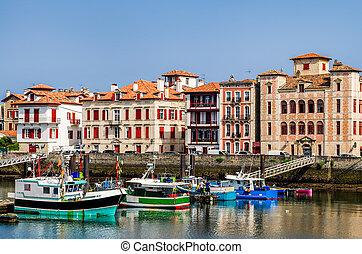 Saint-Jean-de-Luz harbour, France - The harbour and quayside...