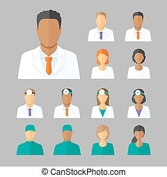 Vector avatars of doctors for medical forum - Vector set of...