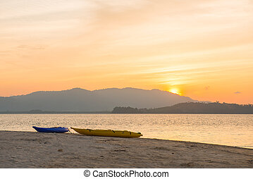 beautiful sunset at Naka Noi Island Phuket, Thailand, nature