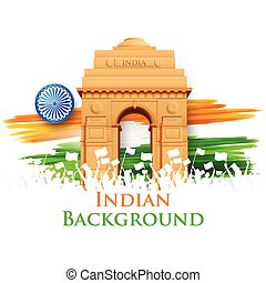 Indian Gate - illustration of India Gate with Tricolor Flag