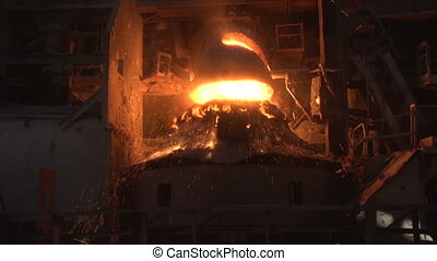 working basic oxygen furnace during purging
