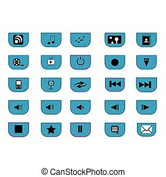 Media icons - 25 media icons with blue, black and white over...
