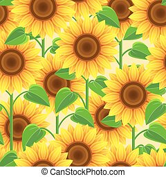 Bright seamless pattern with flowers sunflowers.eps -...