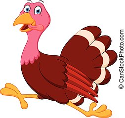 Happy turkey cartoon running