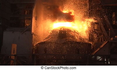 slow motion. working basic oxygen furnace during purging