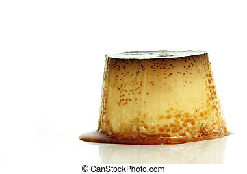 flan - a flan dessert on a white background