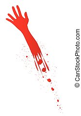Severed Arm - A severed arm in red with blood splatter on a...