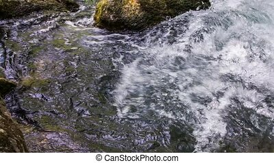 Bubbling Water Of Mountain River Flowing Down - Tracking...