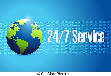 24-7 service international sign concept illustration design...
