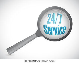 24-7 service magnify sign concept illustration design icon...