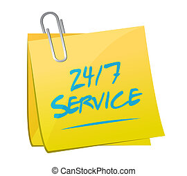 24-7 service post message sign concept illustration design...