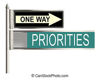 Priorities Road sign on the white background Raster...