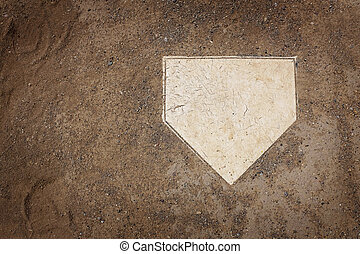Home Plate - Home plate on baseball field with copy space