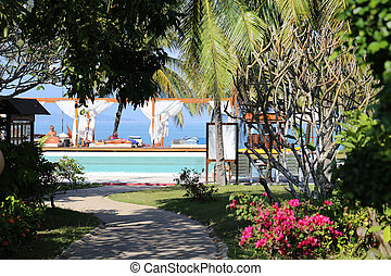 The entrance to Paradise beach and pool by the sea
