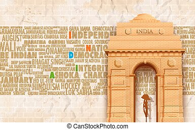 India Gate - illustration of India gate on abstract...