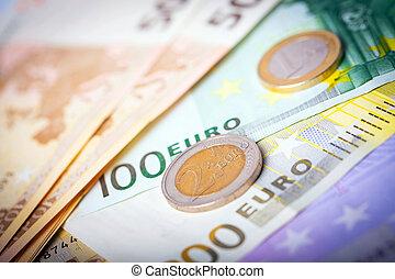 closeup, di, euro, banconote, e, monete,