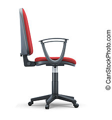 Office chair with a red trim side view on a white 3d