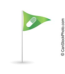 Golf flag with a pill - Illustration of a golf flag with a...