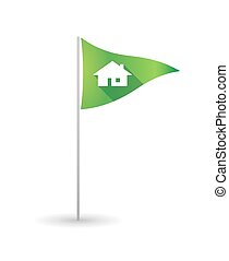 Golf flag with a house - Illustration of a golf flag with a...