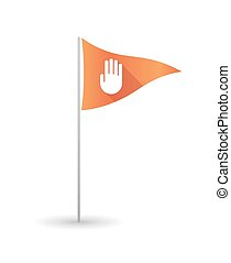 Golf flag with a hand - Illustration of a golf flag with a...