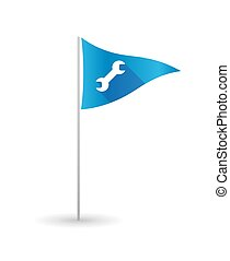 Golf flag with a wrench - Illustration of a golf flag with a...