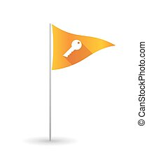 Golf flag with a key - Illustration of a golf flag with a...