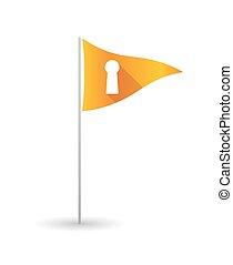 Golf flag with a key hole
