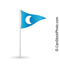 Golf flag with a moon - Illustration of a golf flag with a...