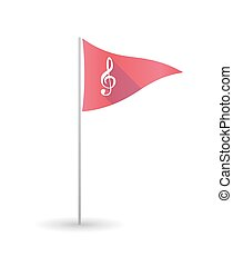 Golf flag with a g clef - Illustration of a golf flag with a...