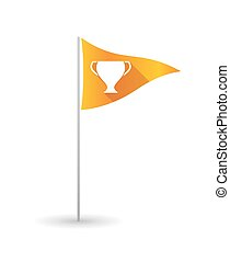 Golf flag with a cup - Illustration of a golf flag with a...