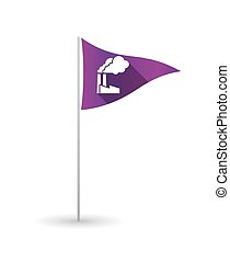 Golf flag with a factory - Illustration of a golf flag with...