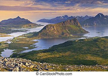 Norway - View of Lofoten Islands, located in Norway, taken...