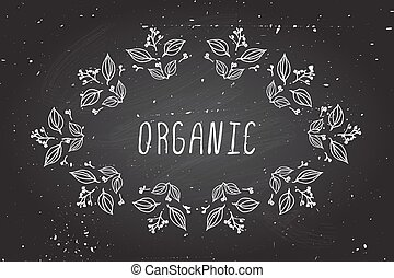 Hand-sketched herbal banners on chalkboard background.
