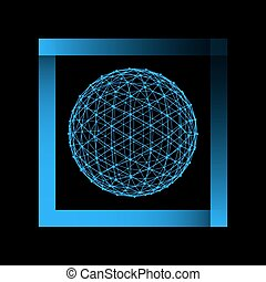 Mesh polygonal background. Scope of lines and dots. Ball of...