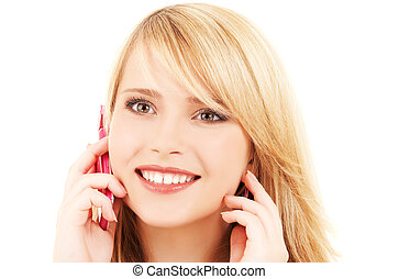 happy girl with pink phone - portrait of happy girl with...