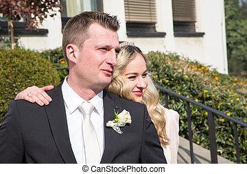 夫婦, 他們, 婚禮, 天, 愉快