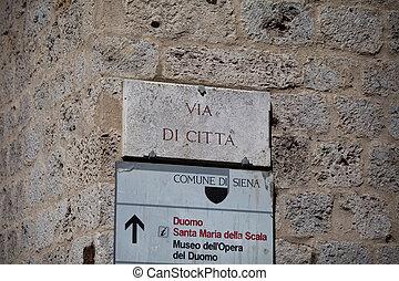 Via di Cittagrave; in Siena - The streetsign of Via di...