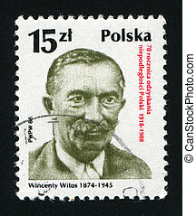 postmark - POLAND -CIRCA 1988: Wincenty Witos was a...