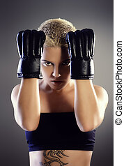 combative - Portrait of a professional athlete woman...