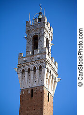 Siena, Italy Torre del Mangia - Famous Torre del Mangia in...