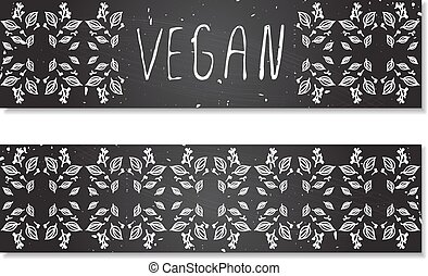 Hand-sketched herbal banners on chalkboard background. -...