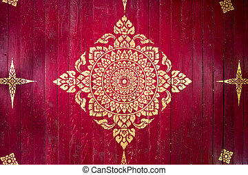 Red background gold buddha