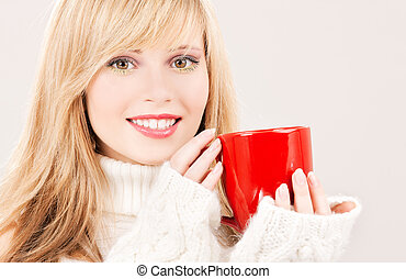 happy teenage girl with red mug - picture of happy teenage...