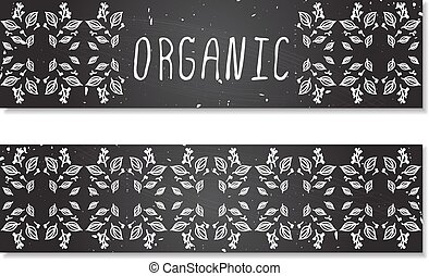 Hand-sketched herbal banners on chalkboard background -...