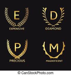 Golden labels - Golden award symbol set with capital letters...
