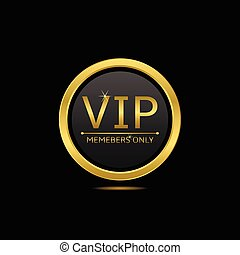 Vip icon - Golden round icon. Vip members only, vector...