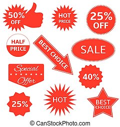 Red labels - Red shopping labels for e-shop Hot price, best...